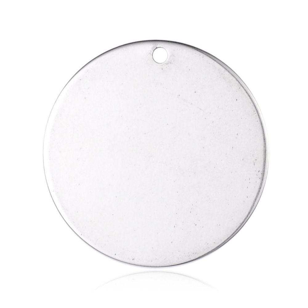 STAINLESS STEEL BLANK WITH HOLE - ROUND - 28 MM DIAMETER - 2MM THICK