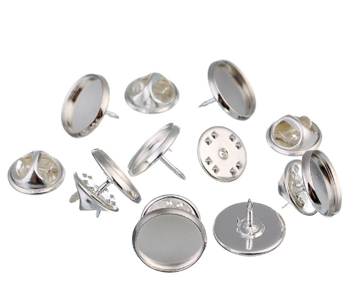 Silver Plated Round Cabochon Setting Brooch Tie Pins fit 18 mm tie clutch p