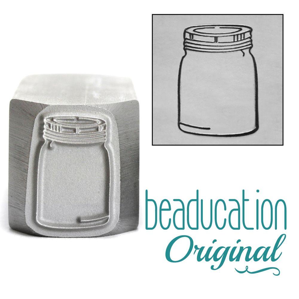 705 Mason Jar 16 mm Beaducation Original Design Stamp
