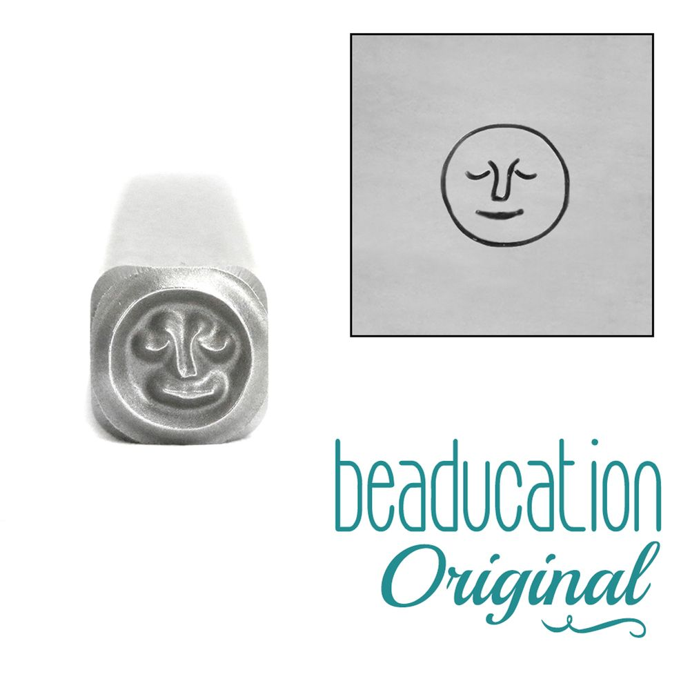 Full Moon with Face Metal Design Stamp 5 mm - Beaducation Original