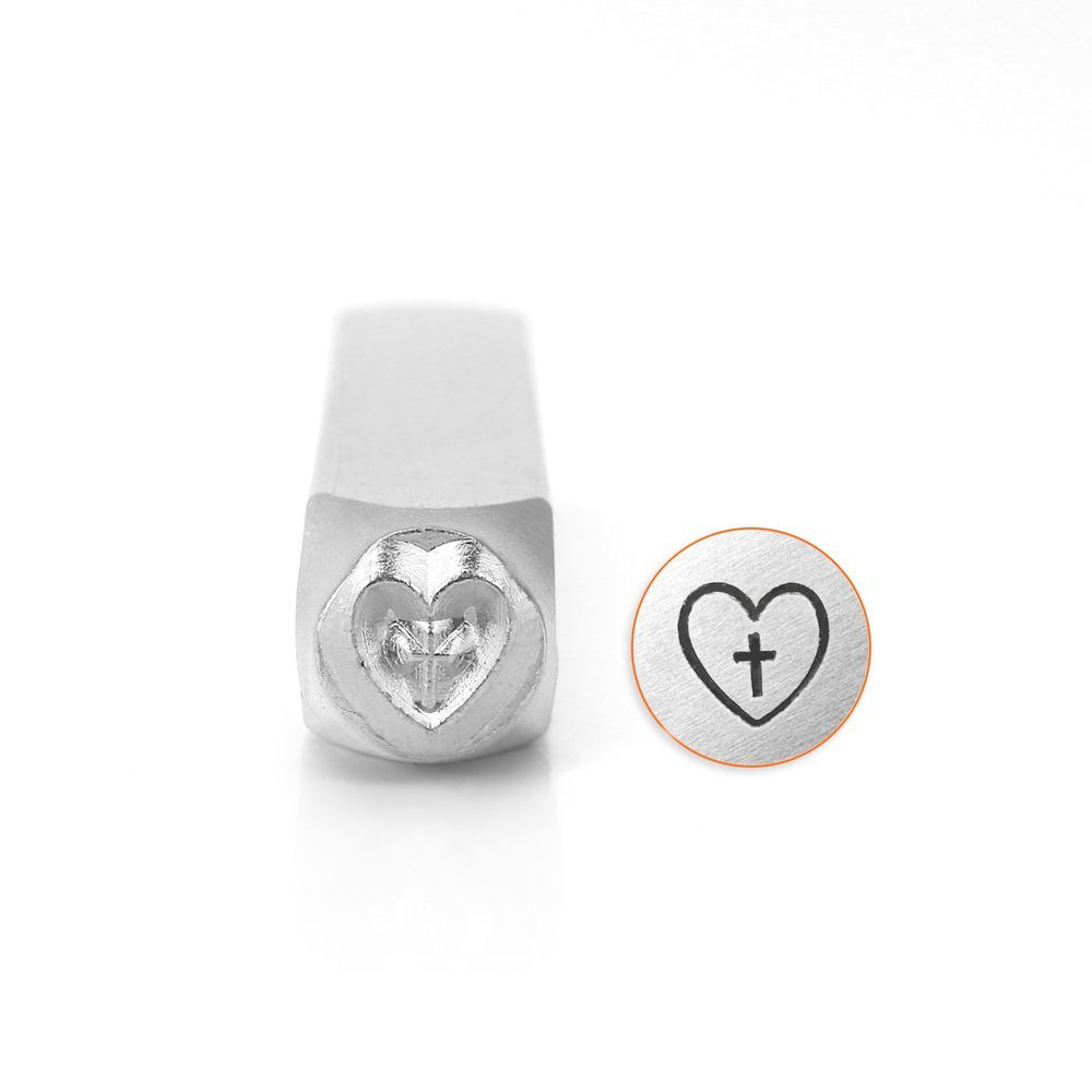 ImpressArt Cross In Heart  6mm Metal Stamping Design Punch