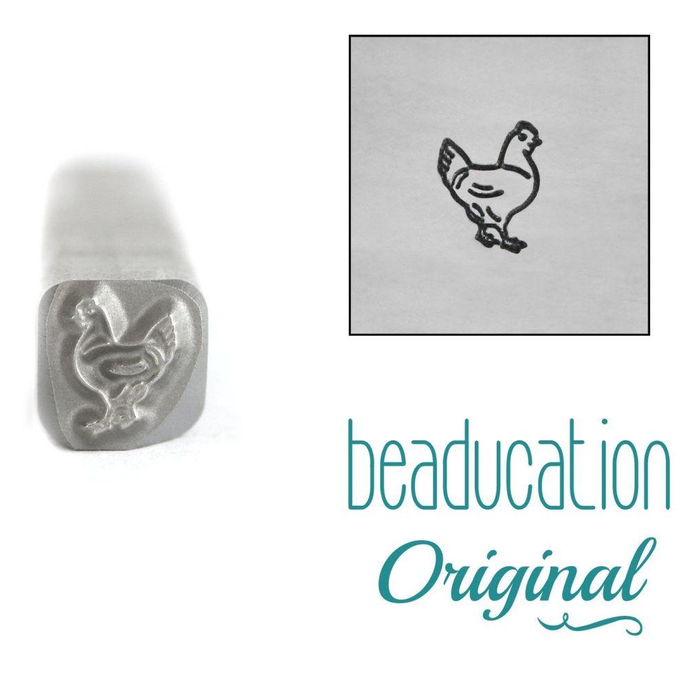 1085 Chicken Facing Right Beaducation Original Design Stamp 5 mm