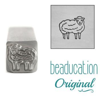 DSS1084 Sheep Facing Right Beaducation Original Design Stamp 8 mm