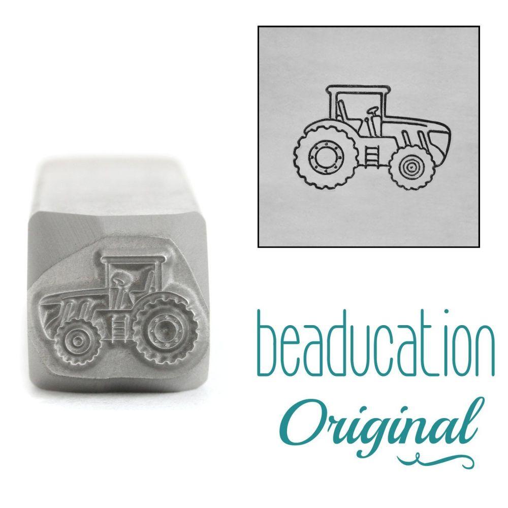 1086 Tractor Facing Right Beaducation Original Design Stamp 11 mm