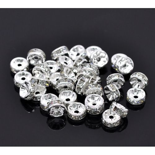 Rondelle Spacer Beads Round Silver Plated Clear Rhinestone  8mm pack of 50