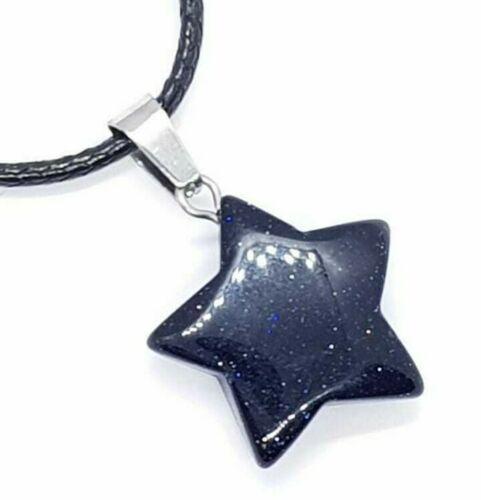 Blue Goldstone Star Pendants x 2