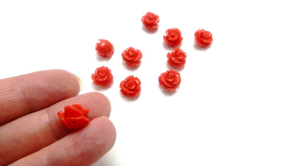 Synthetic Coral Beads, Roses, light red, 11x11x8mm 10 pieces
