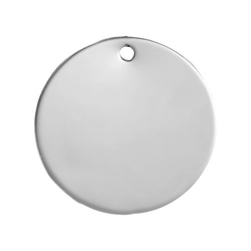 SILVER TONE - STAINLESS STEEL ' 30 MM ROUND ' STAMPING BLANKS - PACK OF 5