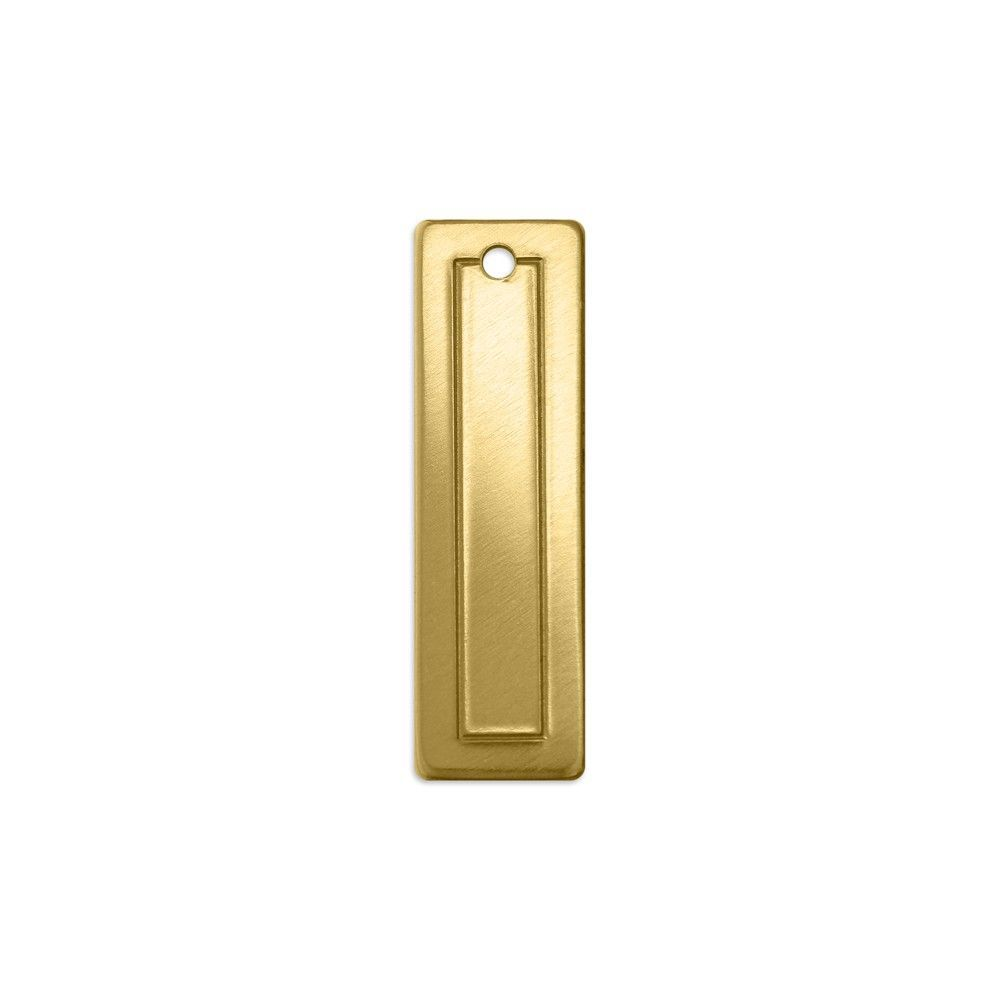 PREMIUM STAMPING BLANKS - BORDER RECTANGLE SMALL BRASS 18G - PACK OF 4