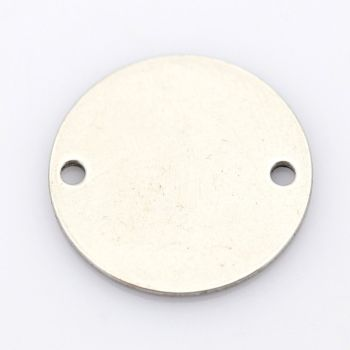SILVER TONE - STAINLESS STEEL ' 16 MM  ROUND ' STAMPING BLANKS - TWO HOLE CONNECTORS -  HOLE 1.5MM PACK OF 10