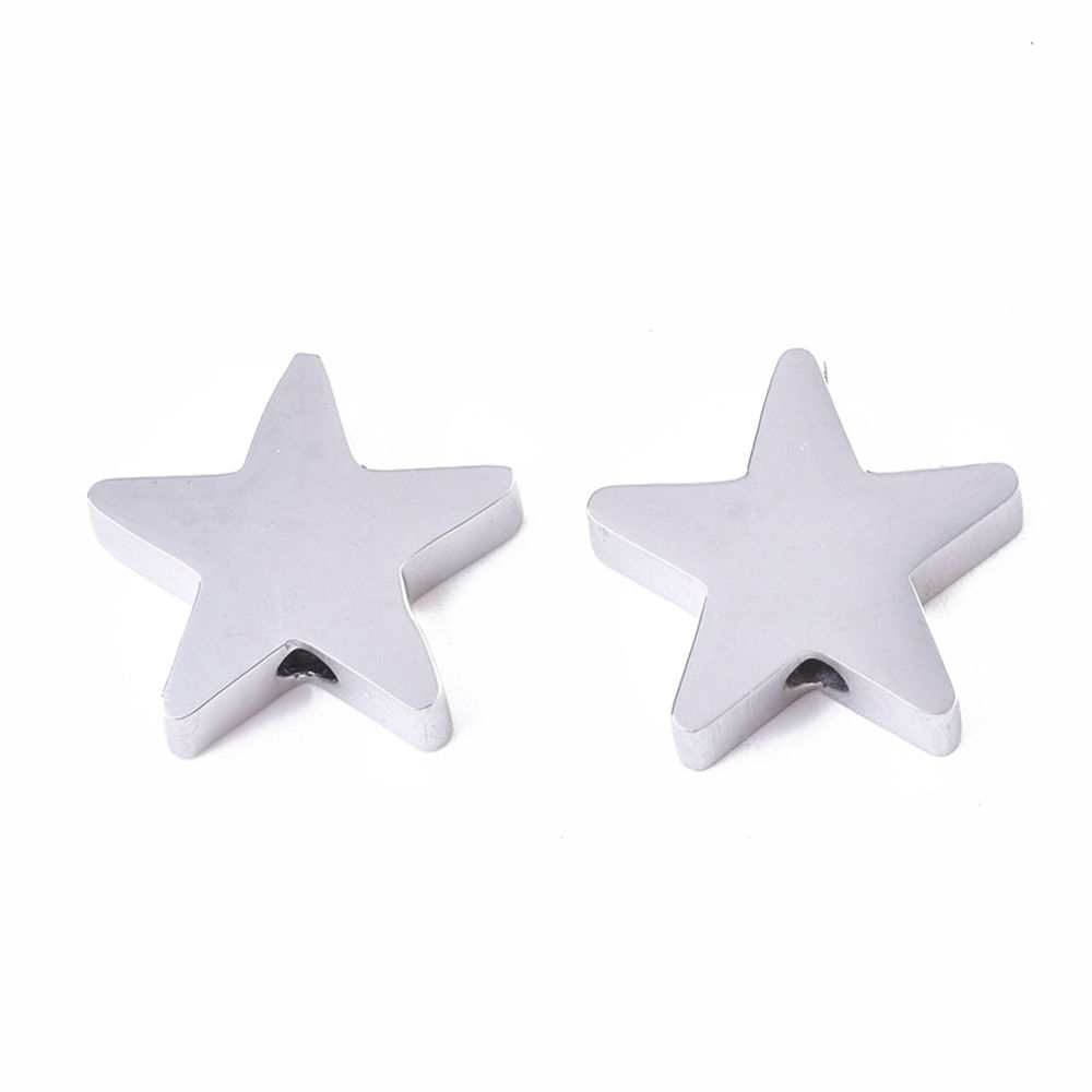 STAINLESS STEEL  STAR BEAD - 9mmX10mmX 3mm  STAMPING BLANK - SILVER - HOLE