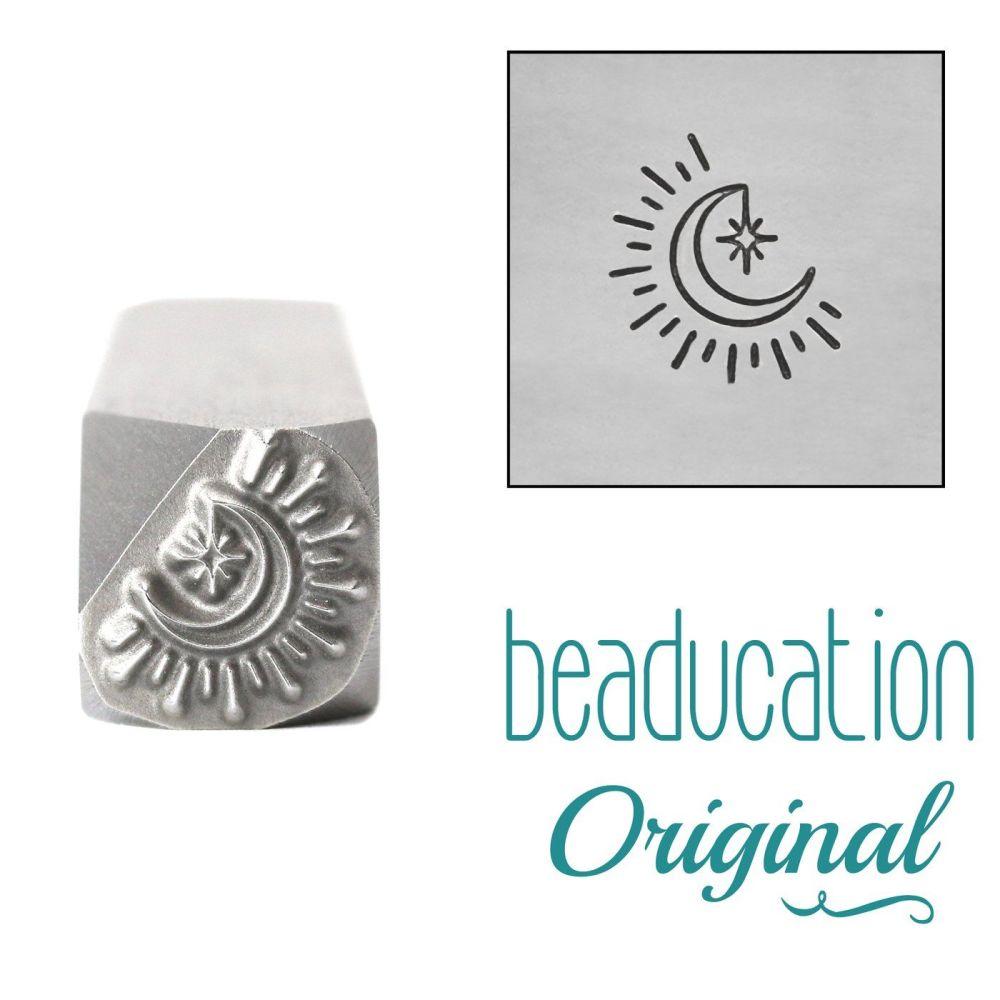 1109 Moon with Dangling Star Beaducation Original Metal Design Stamp, 8.3mm