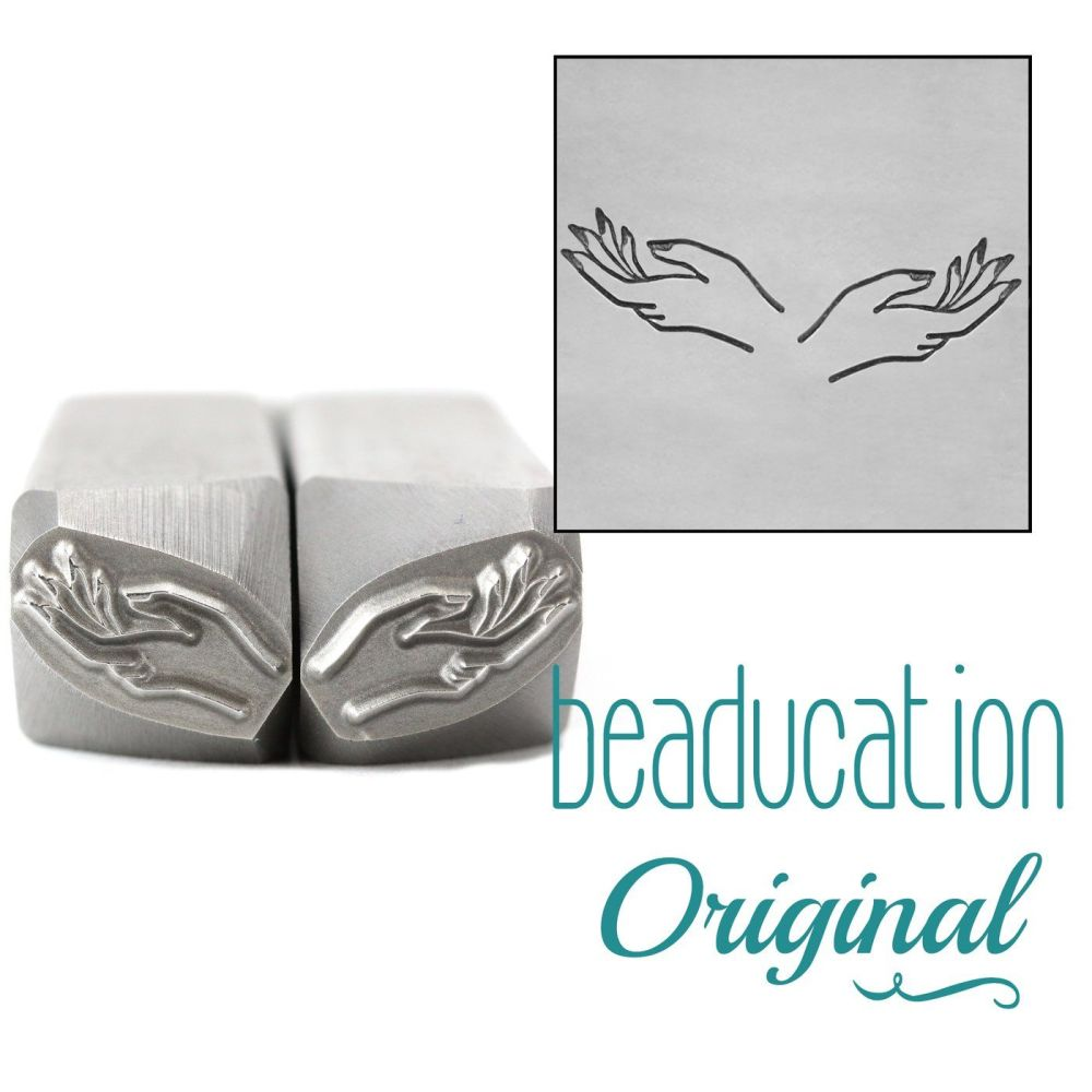 DSS1106 Hands, Set of Left and Right Metal Design Stamps, 11mm - Beaducatio