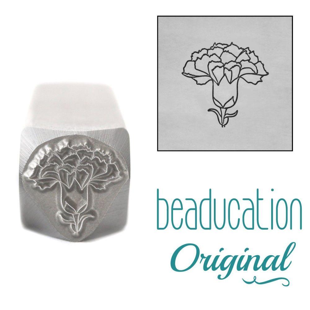 DSS1092 Carnation Metal Design Stamp, January Birth Month Flower, 10.5mm -