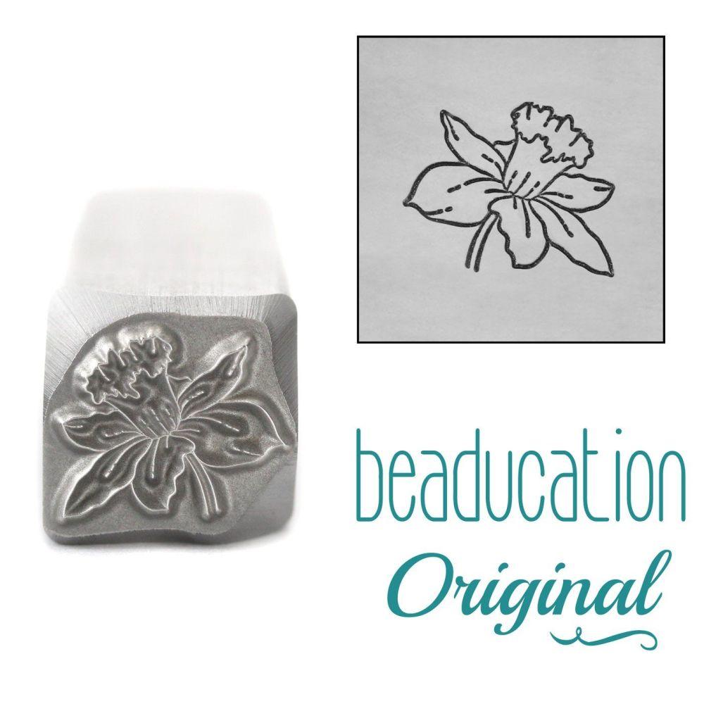 DSS1094 Daffodil Metal Design Stamp, March Birth Month Flower, 11mm - Beadu