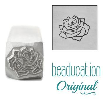 DSS1097 Rose Metal Design Stamp, June Birth Month Flower, 11mm - Beaducation Original