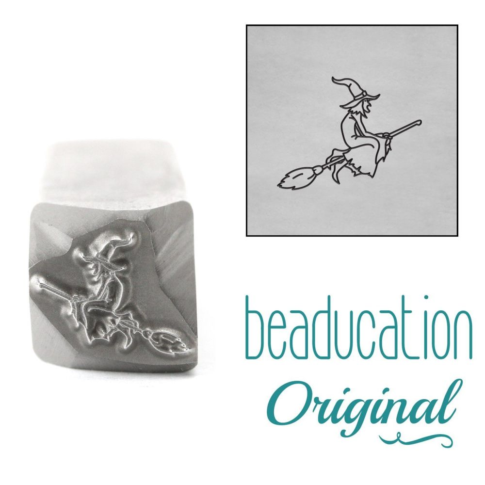 DSS1130 Witch on Broom Flying Right Metal Design Stamp, 11.2mm - Beaducatio