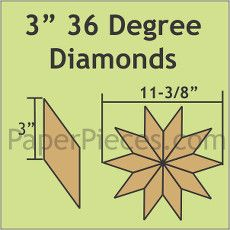 English Paper Pieces Pre-cut Papers ~ 36 Degree Diamond 3""