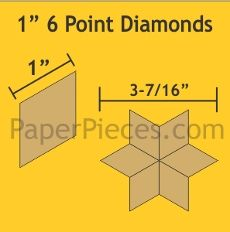 English Paper Pieces Pre-cut Papers ~ 6 Point Diamond 1""