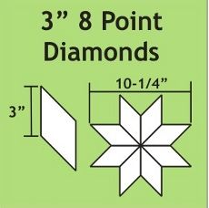 English Paper Pieces Pre-cut Papers ~ 8 Point Diamond 3""