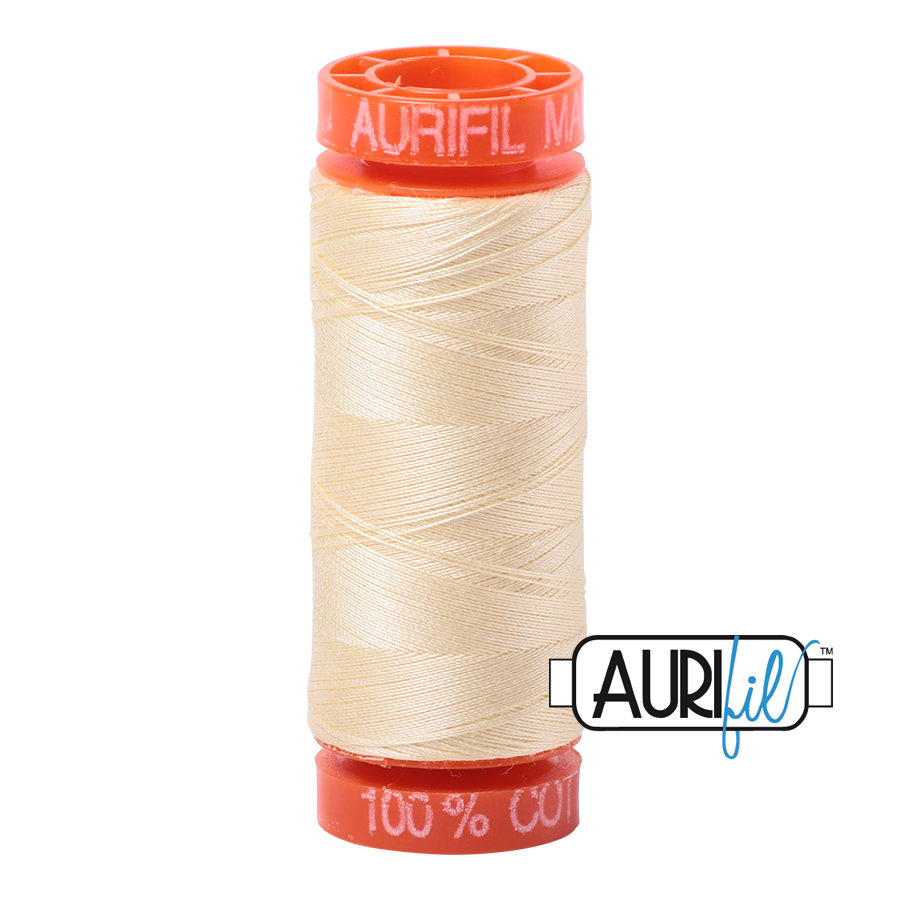 Aurifil ~ 50 wt Cotton ~ 2110 ~ Light Lemon Small Spool