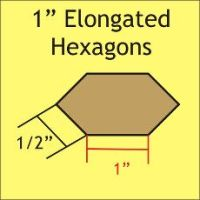 English Paper Pieces Pre-cut Papers ~ Elongated Hexagon 1""