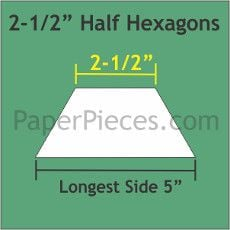 English Paper Pieces Pre-cut Papers ~ Half Hexagon 2 1/2