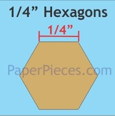 English Paper Pieces Pre-cut Papers ~ Hexagon 1/4""