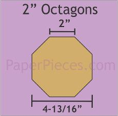 English Paper Pieces Pre-cut Papers ~ Octagons 2""