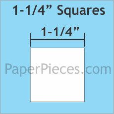 English Paper Pieces Pre-cut Papers ~ Square 1 1/4""