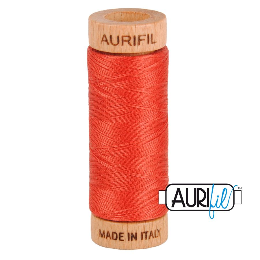 Aurifil ~ 80 wt Cotton ~ 2255 ~ Dark Red Orange