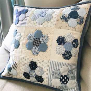 'Happy Hexie Blue Cushion' Kit & Pattern