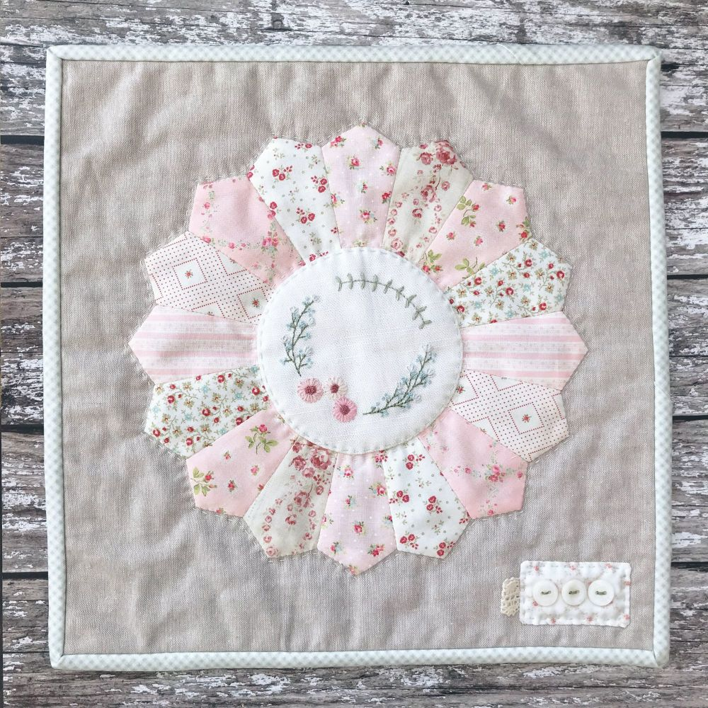 'Embroidered Faded Floral Mini Quilt' Kit & Pattern
