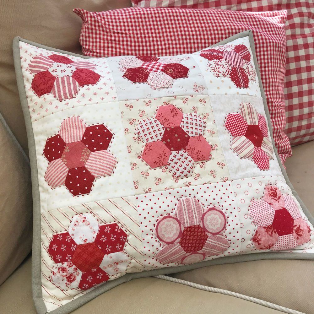 'Happy Hexie Red Cushion' Kit & Pattern