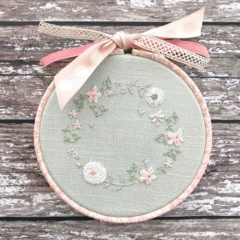 'Embroidery Hoop Duck Egg Cottage Garden' Kit & Pattern