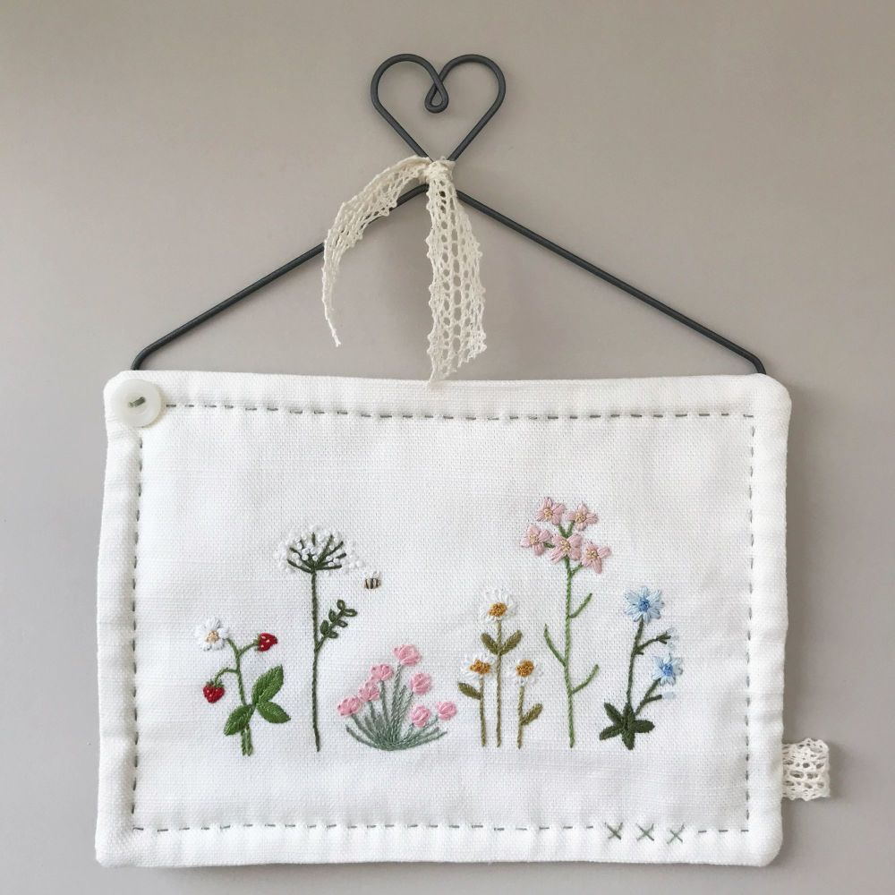 'British Wildflowers' Embroidery Heart Hanger