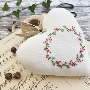 'Embroidered Heart Christmas Wreath' Kit and Pattern