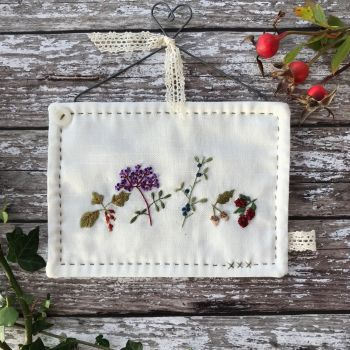 'British Hedgerow' Embroidery Heart Hanger