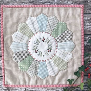 'Embroidered Festive Winter Greenery Mini Quilt' Kit & Pattern