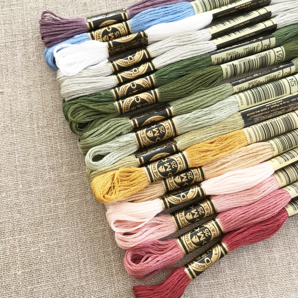 'Floral Alphabet Sampler' Embroidery Thread Set