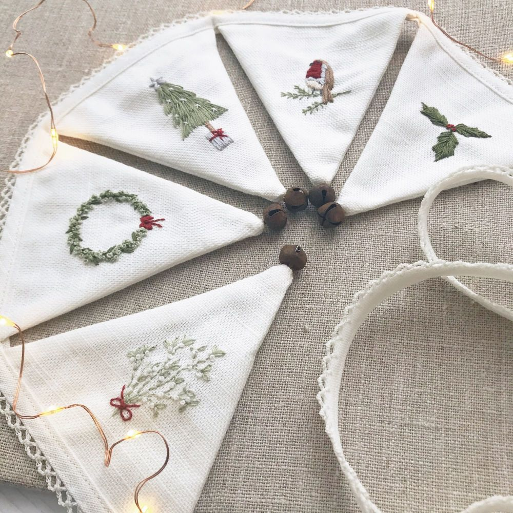 'Embroidered Christmas Mini Bunting' Kit and Pattern