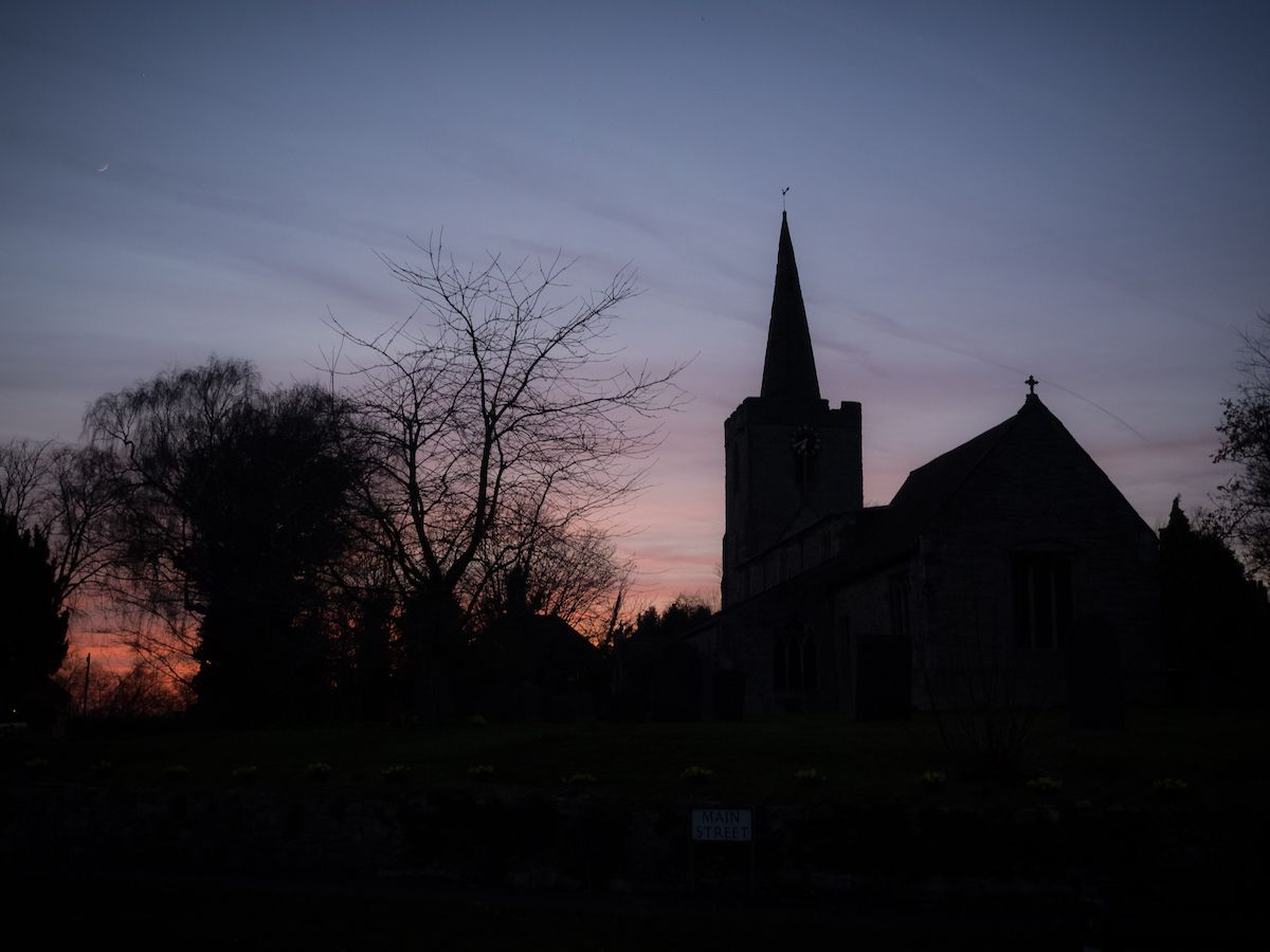 Sunset over Wysall Church