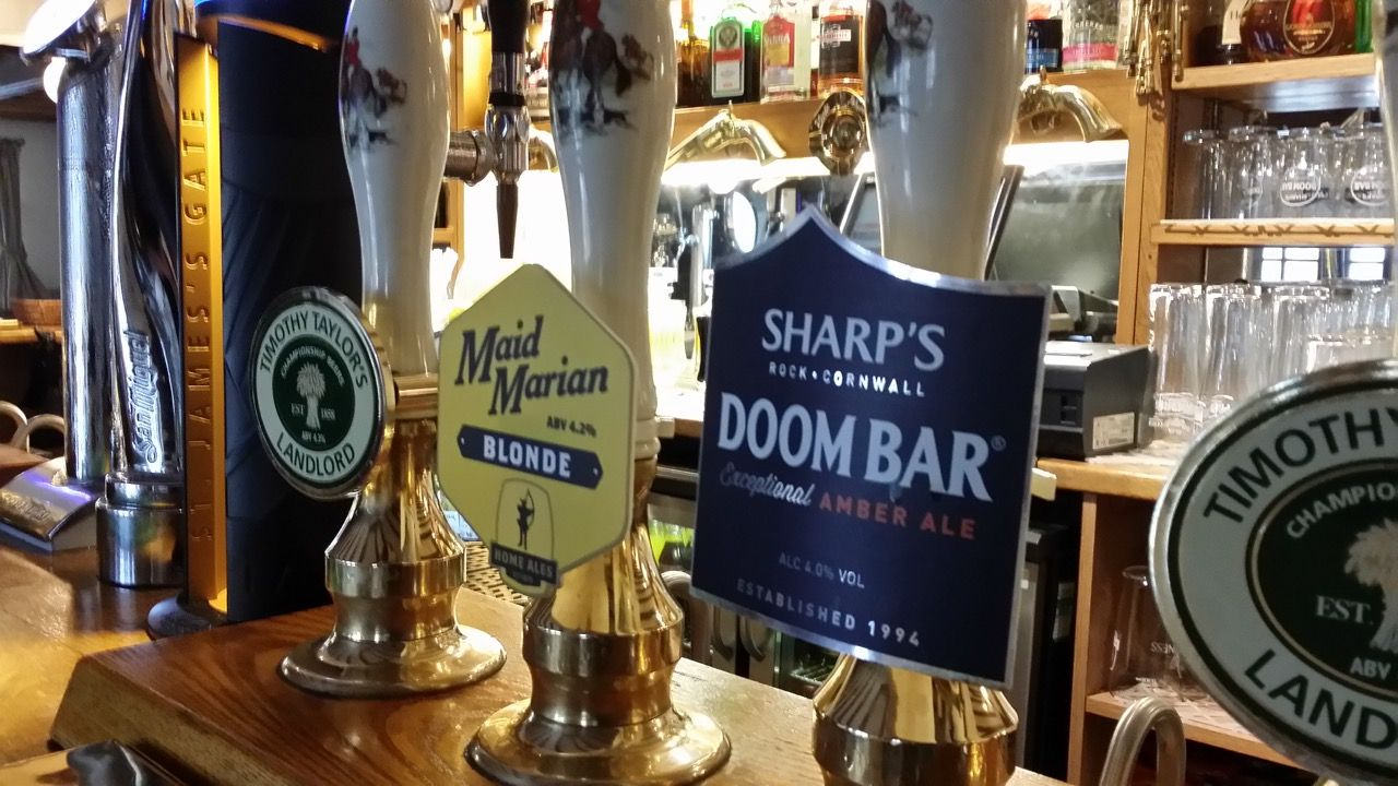 Selection of ale at The Plough Inn
