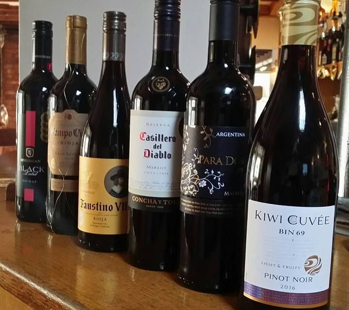 Red wines available at The Plough