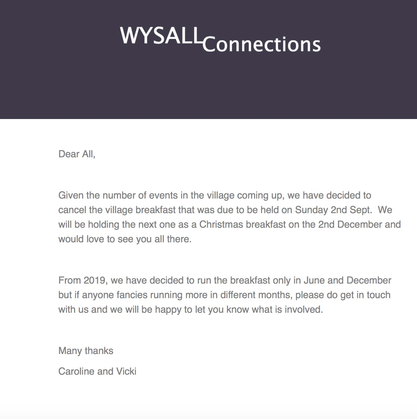 Wysall Connections 29th August 2018
