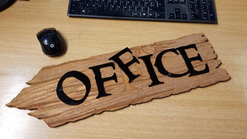 Laser Cut Engraved Office Sign
