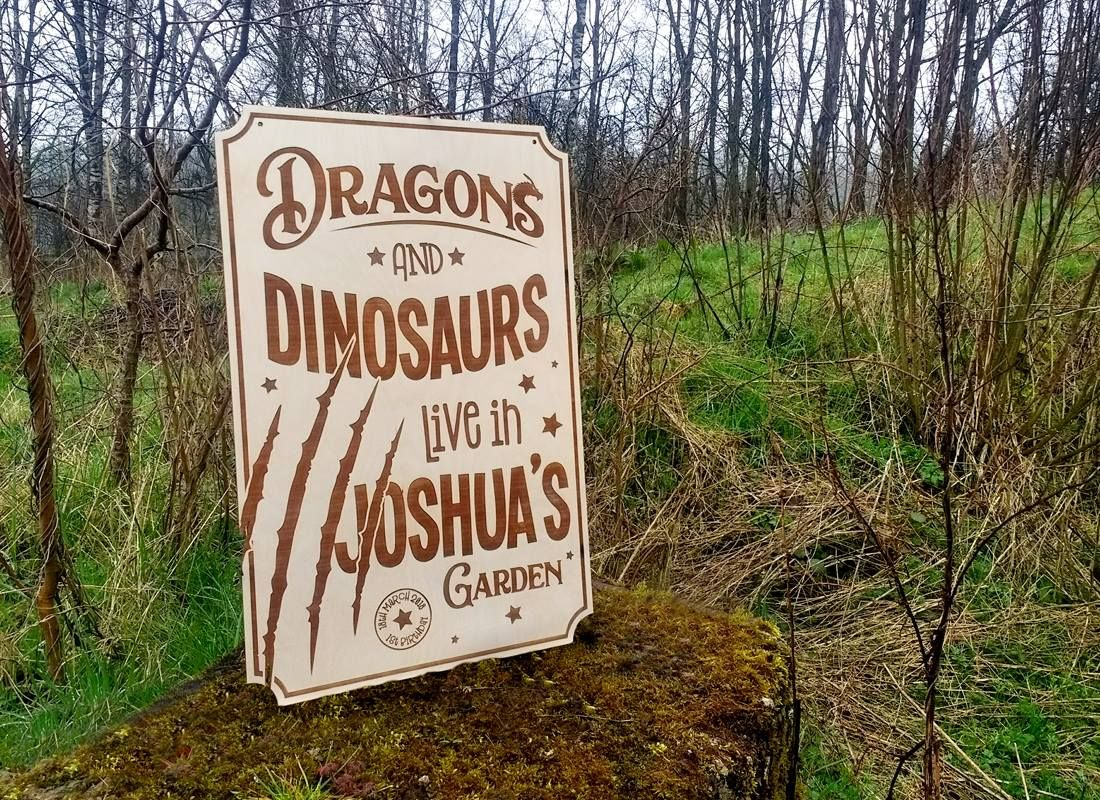 Laser Engraved Wooden Dinosaur Sign