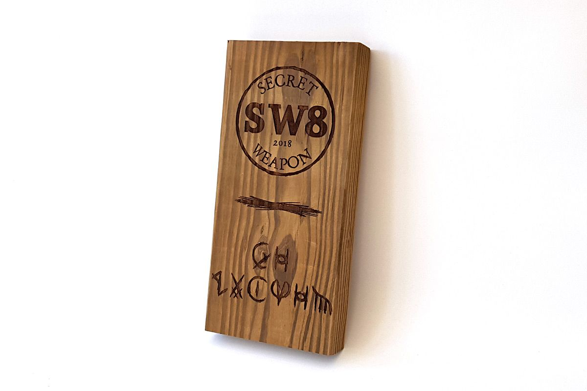 SW8 Engraved Wooden Block