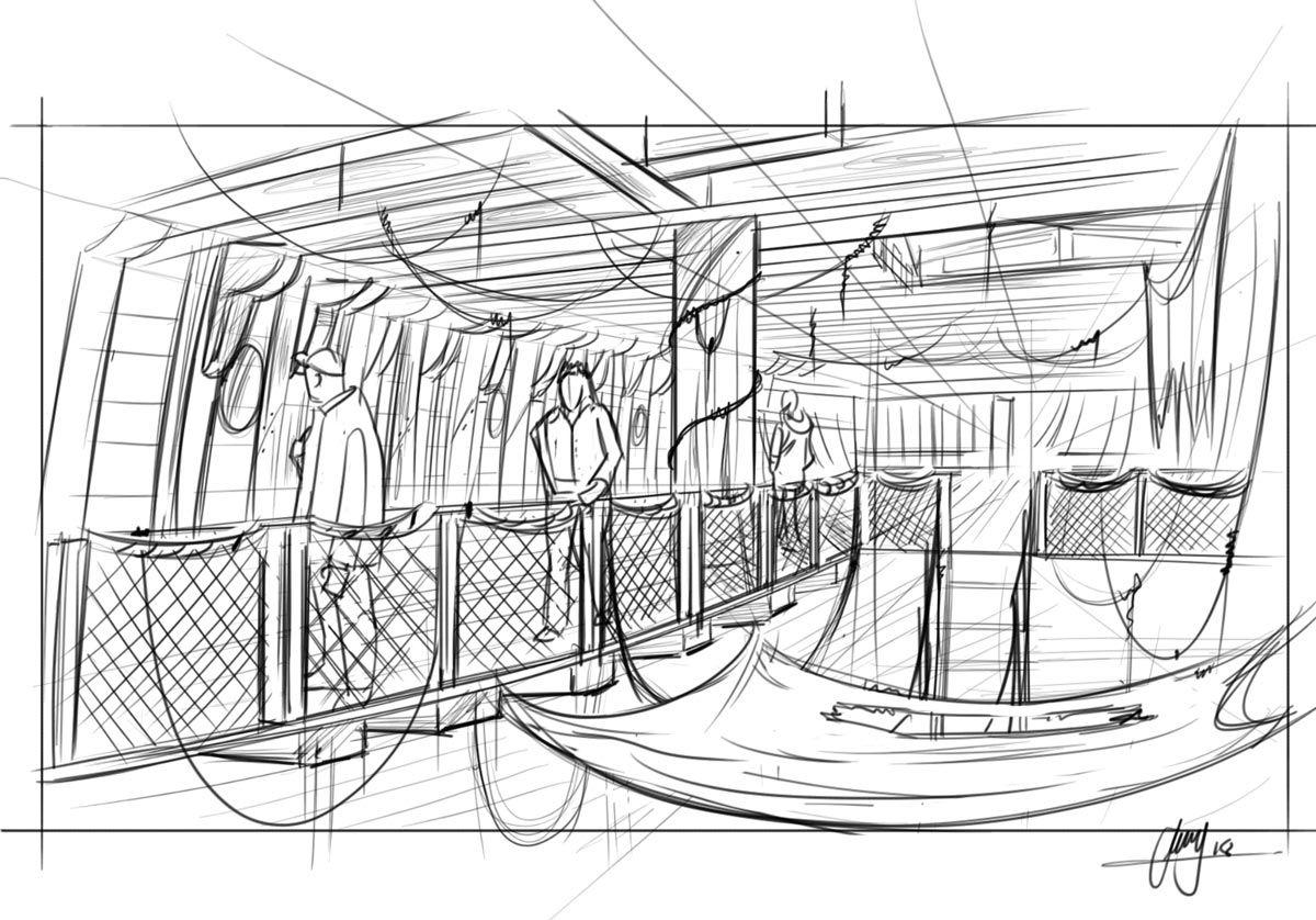 Ship Interior Graphic Design Drawing
