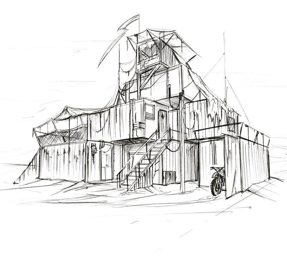 Apocalyptic Set Design Sketch